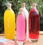 玻璃饮料瓶蓝梅汁瓶果汁瓶果酒瓶