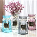 欧式创意玻璃花瓶透明彩色竖棱水培工艺玻璃花瓶客厅装饰插花摆件