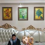 梵高装饰画沙发背景墙冰晶画