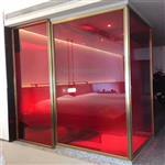 广州淋浴房红色夹胶玻璃 淋浴房彩色玻璃 渐变玻璃