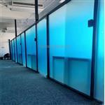 广东蓝色渐变玻璃 办公室隔断磨砂渐变玻璃