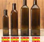 批发棕色橄榄油瓶750ml圆形墨绿色山茶核桃油瓶500ml方形玻璃瓶子