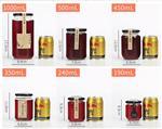 批发圆形酱菜瓶玻璃瓶 450ml蜂蜜瓶 350ml果酱瓶 240ml水果罐头瓶 190ml辣椒酱瓶燕窝瓶