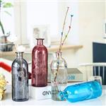 欧式简约小清新新款欧式小口试剂一枝花刻花彩色客厅玻璃花瓶摆件