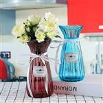 批发彩色玻璃插花瓶蓝色透明花瓶