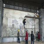 广州夹山水画玻璃 夹丝玻璃 屏风装饰玻璃 酒店装饰玻璃