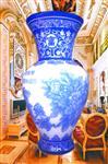 50cm高套色玻璃瓶浮雕精加工