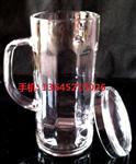 耐热3百-400ml带把透明玻璃水杯带盖加厚办公杯茶杯子啤酒