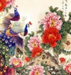 艺术玻璃-国色天香花鸟艺术玻璃