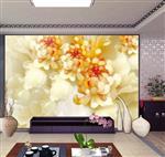 高清玉雕荷花壁画电视背景墙