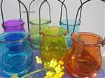 彩色玻璃吊瓶水培花卉容器