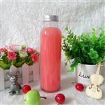 玻璃饮料瓶奶茶瓶配马口铁盖350ml冷饮瓶