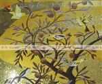 花鸟石榴树金衣图玻璃马赛克剪画装饰背景墙