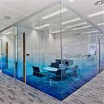 厂家供应渐变玻璃 蓝色渐变玻璃 隔断磨砂渐变玻璃
