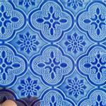 蓝色海棠压花玻璃