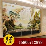 艺术雕刻玻璃背景墙江山如画