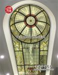 彩绘玻璃穹顶彩色玻璃穹顶室内蒂凡尼玻璃穹顶圆博工艺专业制作