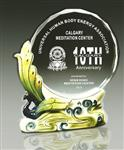阿法瓷奖杯 西安水晶奖杯刻字定制 陶瓷水晶工艺品