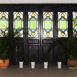 教堂彩绘满洲窗玻璃 海棠花玻璃