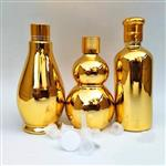 上海金色精油瓶高档电镀玻璃瓶5-100毫升葫芦精油分装空瓶多