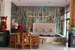 中式客厅艺术玻璃背景墙