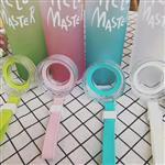 韩版蒙砂玻璃杯创意渐变七彩便携式水杯