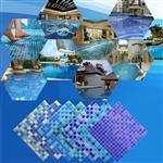 泳池玻璃马赛克拼图拼花水池外墙浴室鱼池蓝色厂家工程瓷砖