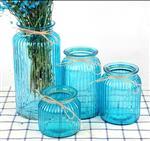 时尚透明彩色竖纹玻璃花瓶花器条纹插花玻璃瓶创意麻绳提手干花瓶