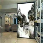 河南夹丝绢山水画玻璃屏风隔断背景墙 宾馆酒店客厅装饰艺术玻璃