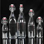 卡扣玻璃瓶500ml透明饮料瓶