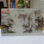广州富景玻璃夹山水画玻璃背景墙隔断玄关可来图定制