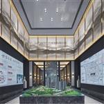 广州售楼部夹山水画玻璃 园林山水画玻璃 屏风山水画玻璃