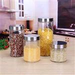 批发透明玻璃储物罐圆柱形铁盖杂粮收纳罐玻璃密封罐干果玻璃罐