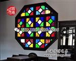 彩色花窗玻璃彩绘镶嵌玻璃手绘圆博工艺
