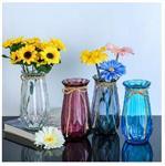 折纸玻璃花瓶 欧式简约几何创意竖棱插花瓶