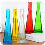 新款玻璃花瓶透明彩色一枝花三角花瓶创意家居摆件植物插花瓶摆件