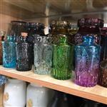彩色浮雕香薰瓶玻璃插花瓶组水培瓶木塞许愿瓶