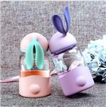 创意可爱小兔子水杯定制logo广告礼品杯子订做儿童玻璃水杯随