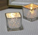 简约现代电镀斑点方形玻璃烛台浪漫烛光晚餐酒吧聚会摆件