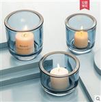 现代简约彩色小烛杯透明5CM玻璃烛台酒吧餐厅浪漫节日家装饰摆件