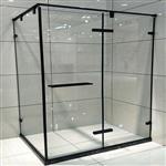 厂家直销一字形高档不锈钢砂黑淋浴房
