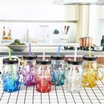 徐州玻璃瓶  480ml喷涂玻璃杯 骷髅头创意把子杯