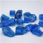 大块玻璃海蓝玻璃块12-20mm壁炉火炉玻璃墙园艺景观装饰用