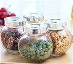 密封厨房防潮透明玻璃扁鼓瓶杂粮储藏罐