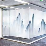 夹丝玻璃 背景墙夹丝玻璃 山水画玻璃