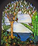 彩绘玻璃 教堂穹顶天花玻璃 彩色镶嵌玻璃