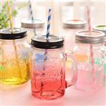 玻璃瓶创意吸管把手杯