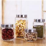 徐州嘉隆4种规格方形不锈钢盖玻璃储物储藏罐无铅透明800ml