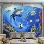 海底世界马赛克剪画拼图艺术背景墙