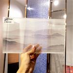新款高档场所夹绢丝玻璃 背景墙橱柜衣柜圆桌茶几装饰玻璃